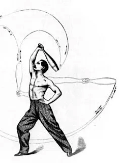 Black and white drawing of shirtless man swinging clubs.