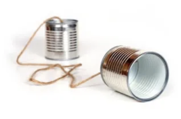 Tin cans on a string.
