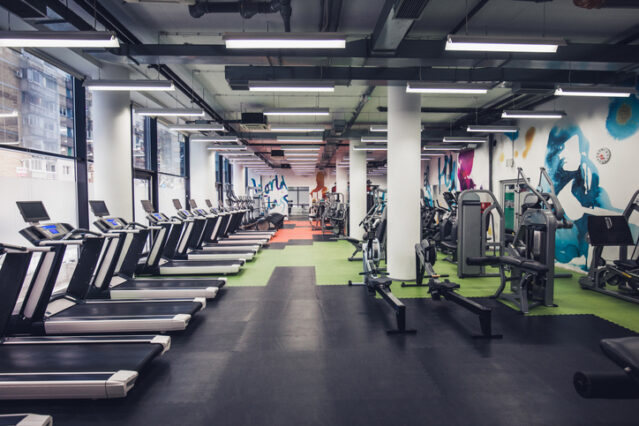 Empty gym with workout equipment