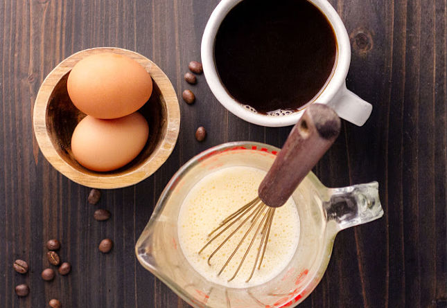 Primal egg coffee i started by beating the eggs together whole as if you were making scrambled eggs you could also blend them for a 1 cup dose of coffee i did two whole malvernweather Choice Image