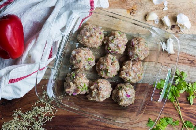 hemp meatball ready for oven