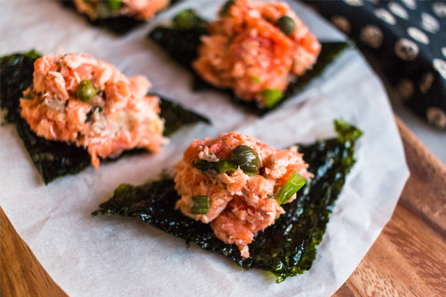 salmon spread with nori
