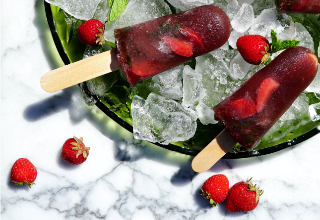strawberry hibiscus collagen popsicles