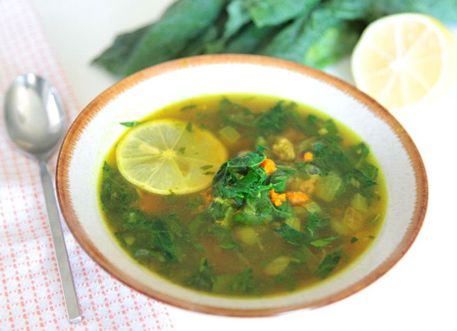 turmeric and kale soup with ground lamb