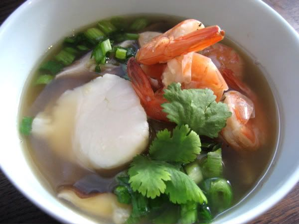 Ginger Soup with Scallops and Shrimp