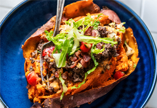 loaded sweet potato with ground venison