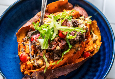 loaded sweet potato with venison