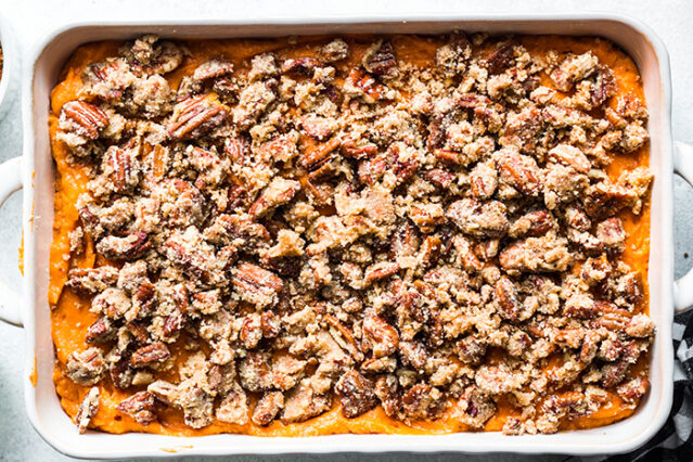 pecans on sweet potato souffle