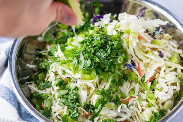 citrus coleslaw recipe ingredients in a bowl