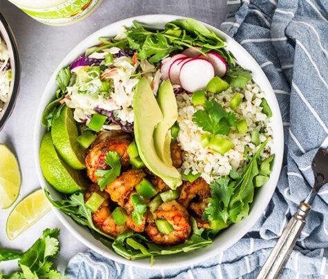 shrimp cauliflower rice bowls