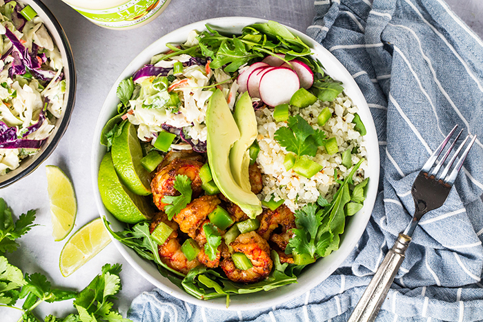 shrimp cauliflower rice bowls