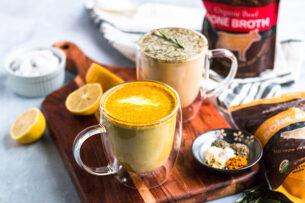 Two Bone Broth Latte Recipes: Ginger Turmeric and Garlic Herb