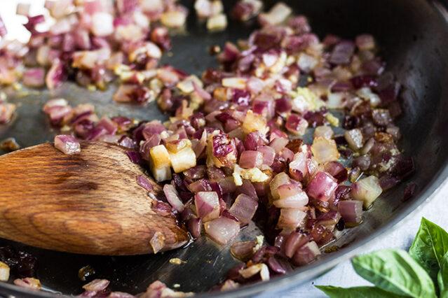 sauteed onion for gluten free lasagna