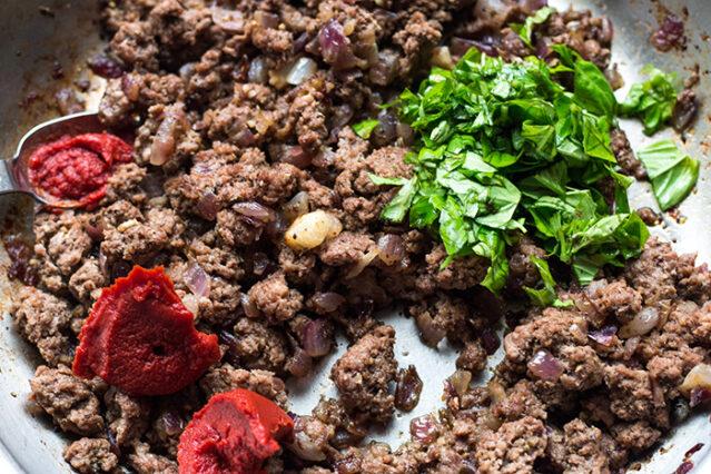 ground beef sauteeing for gluten free lasagna recipe