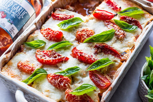 gluten free lasagna made with celery root in a casserole pan