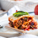 lasagna made with celery root slices in place of noodles