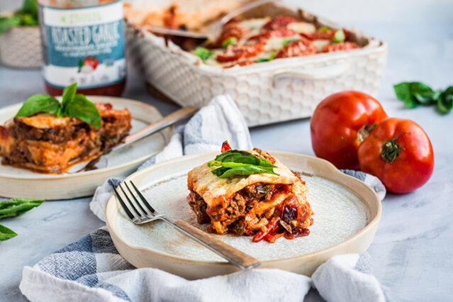gluten free lasagna made with celery root on a plate
