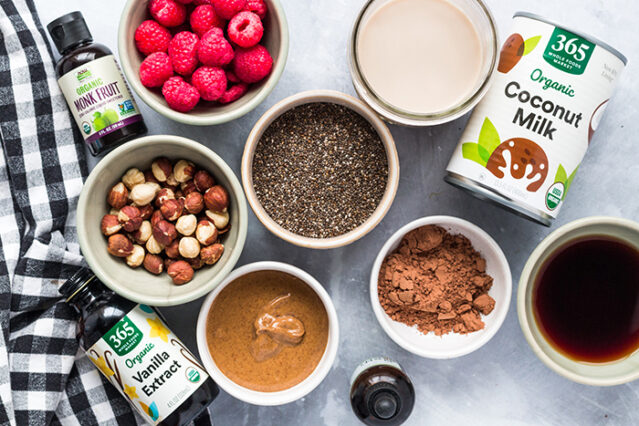 chia seed pudding ingredients in mise en place bowls