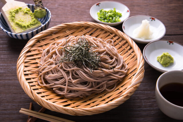 soba noodles with accompaniments