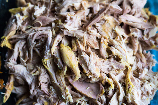 shredded chicken for ginger turmeric chicken soup