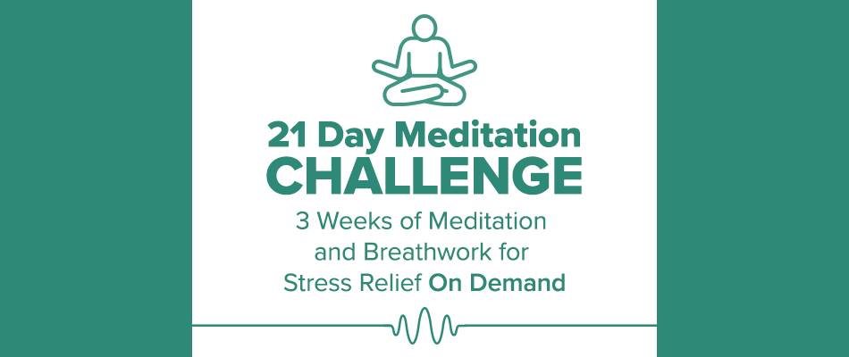 21 meditation challenge illustrated meditating person with text