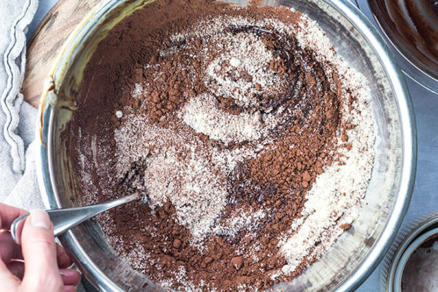 gluten free almond flour chocolate cake recipe ingredients in a bowl