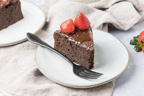 serving of a gluten free chocolate cake recipe on a plate with a fork