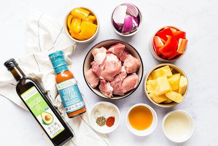 ingredients for pork pineapple bbq kebabs