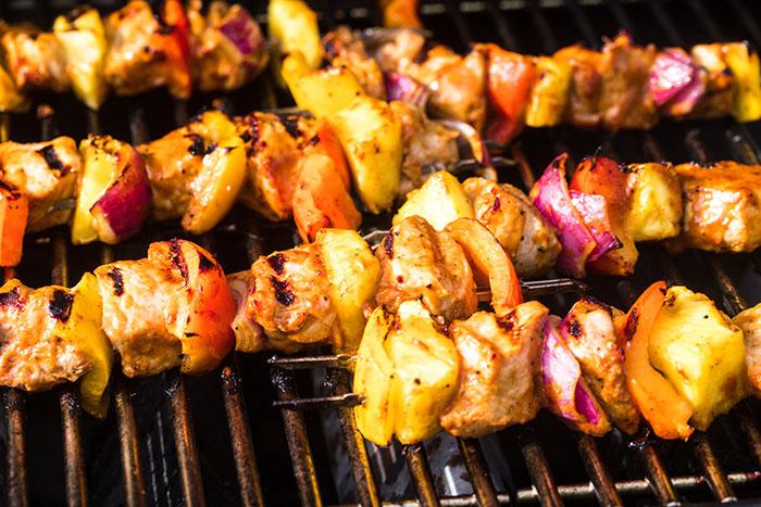 pork pineapple bbq kebab skewers on the grill