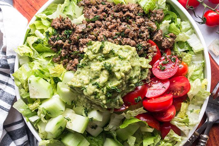 gyro taco salad with tzatziki guacamole recipe