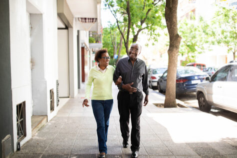 senior couple doing a beginners walking routine