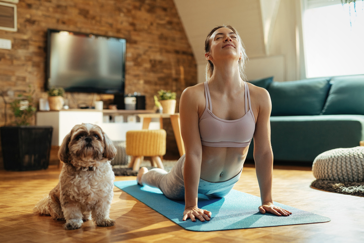 woman stretching on yoga mat questions about collagen