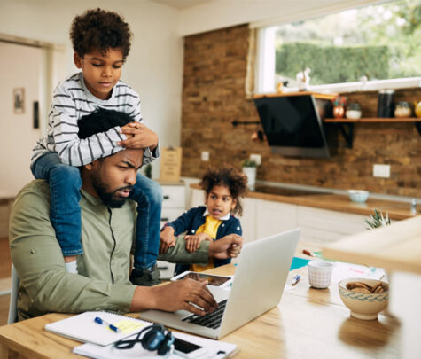 work at home parent struggling to balance work with childcare and cope with overwhelm