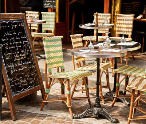 set table on a Paris sidewalk - american vs european wheat overseas