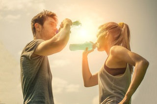 Couple drink water