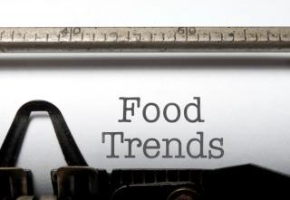 Food trends printed on an old typewriter