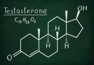 Chemical formula of Testosterone on a blackboard