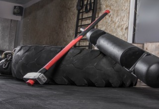 Different crossfit equipment used for crossfit training at fitness club