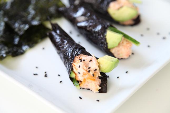 salmon handroll 1
