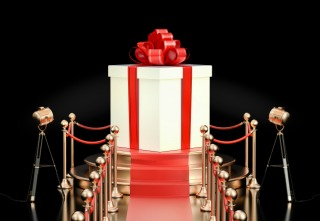 Podium with gift box, 3D rendering isolated on black background